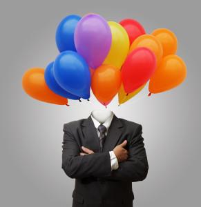 balloons head business man as success concept